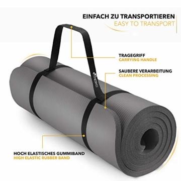 TRESKO Yogamatte Phthalatfrei - Gymnastikmatte rutschfest, Pilatesmatte Fitnessmatte mit Tragegurt, 185 x 60 x 1,0 cm - 8
