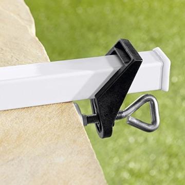 TRI Sonnenschirm-Butler, Balkonschirmhalterung für die Befestigung an Breiten Balkongeländern, weiß lackierter Stahl, für Gartenschirme bis Ø 38 mm | Sonnenschirmhalter - 4