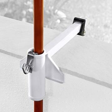 TRI Sonnenschirm-Butler, Balkonschirmhalterung für die Befestigung an Breiten Balkongeländern, weiß lackierter Stahl, für Gartenschirme bis Ø 38 mm | Sonnenschirmhalter - 5