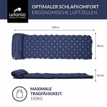 udonia Isomatte - ultraleichte Luftmatratze (blau) für Camping & Outdoor - mit Kopfkissen, praktischem Tragebeutel, Pumpe & Reparatur-Set - 2