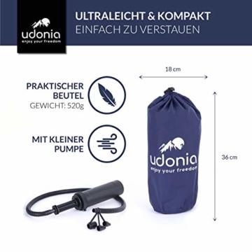 udonia Isomatte - ultraleichte Luftmatratze (blau) für Camping & Outdoor - mit Kopfkissen, praktischem Tragebeutel, Pumpe & Reparatur-Set - 4