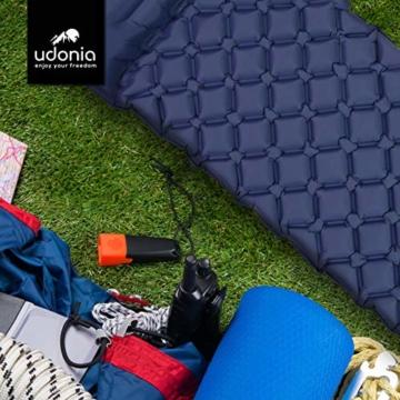 udonia Isomatte - ultraleichte Luftmatratze (blau) für Camping & Outdoor - mit Kopfkissen, praktischem Tragebeutel, Pumpe & Reparatur-Set - 5