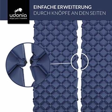 udonia Isomatte - ultraleichte Luftmatratze (blau) für Camping & Outdoor - mit Kopfkissen, praktischem Tragebeutel, Pumpe & Reparatur-Set - 7