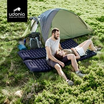 udonia Isomatte - ultraleichte Luftmatratze (blau) für Camping & Outdoor - mit Kopfkissen, praktischem Tragebeutel, Pumpe & Reparatur-Set - 8