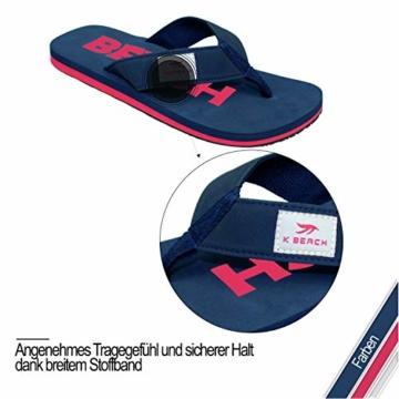 Ultrapower Flip-On Zehentrenner | Flip Flops | Badelatschen | Strandschuhe | Duschlatschen | Zehenstegpantolette | Bad | Sauna Schuhe | Sandalen | Blau/Rot | Gr.45 - 2