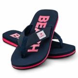 Ultrapower Flip-On Zehentrenner | Flip Flops | Badelatschen | Strandschuhe | Duschlatschen | Zehenstegpantolette | Bad | Sauna Schuhe | Sandalen | Blau/Rot | Gr.45 - 1