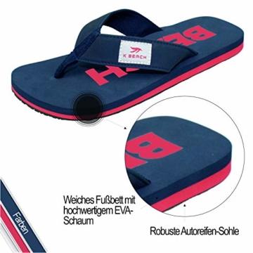 Ultrapower Flip-On Zehentrenner | Flip Flops | Badelatschen | Strandschuhe | Duschlatschen | Zehenstegpantolette | Bad | Sauna Schuhe | Sandalen | Blau/Rot | Gr.45 - 3