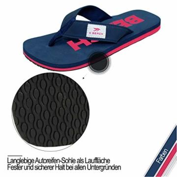Ultrapower Flip-On Zehentrenner | Flip Flops | Badelatschen | Strandschuhe | Duschlatschen | Zehenstegpantolette | Bad | Sauna Schuhe | Sandalen | Blau/Rot | Gr.45 - 6