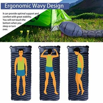 Unigear Camping Isomatte, Aufblasbare Luftmatratze Camping, Schlafmatte für Outdoor, Feuchtigkeitsbeständig Wasserdicht und rutschfest, MEHRWEG (Dunkelblau mit Kissen) - 3