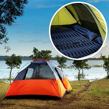 Unigear Camping Isomatte, Aufblasbare Luftmatratze Camping, Schlafmatte für Outdoor, Feuchtigkeitsbeständig Wasserdicht und rutschfest, MEHRWEG (Dunkelblau mit Kissen) - 7