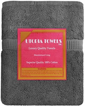 Utopia Towels - Badetuch groß aus Baumwolle 600 g/m², 2er Pack - Duschtuch, 90 x 180 cm (Grau) - 4