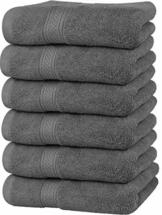 Utopia Towels - Handtücher Set aus Baumwolle 600 GSM - 100% Baumwolle, 41 x 71 cm - 6er Pack (Grau) - 1