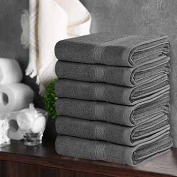 Utopia Towels - Handtücher Set aus Baumwolle 600 GSM - 100% Baumwolle, 41 x 71 cm - 6er Pack (Grau) - 9