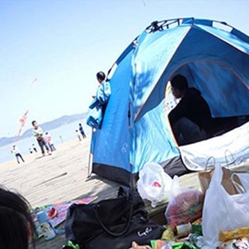 Vlook Wasserdichtes Campingzelt, hydraulische Regenschutzzelte, einlagige Doppeltürstruktur, komfortabel und atmungsaktiv, für Strandcamping - 3