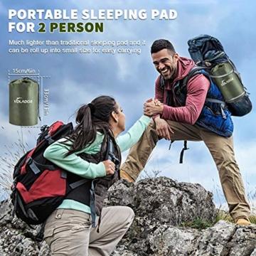 VOLADOR Breit Doppelt aufblasbare Isomatte, Selbstaufblasbare wasserdichte Camping-Luftmatratze, Ultraleichte Tragbare Luft-Isomatte für Reisen, Wandern, Rucksackreisen - 3