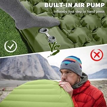 VOLADOR Breit Doppelt aufblasbare Isomatte, Selbstaufblasbare wasserdichte Camping-Luftmatratze, Ultraleichte Tragbare Luft-Isomatte für Reisen, Wandern, Rucksackreisen - 5