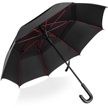 VONDAVO 54 inches Regenschirm Stockschirm Automatik - Übergroß Doppelt Überdachunges sturmsicherer Golfschirm mit 8 Rot Fiberglas Streben und Ledergriff, ideal für 1-3 Personen bei Sturm - 1