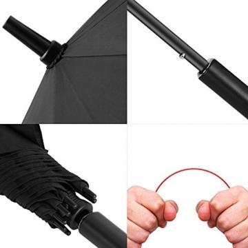 VONDAVO 54 inches Regenschirm Stockschirm Automatik - Übergroß Doppelt Überdachunges sturmsicherer Golfschirm mit 8 Rot Fiberglas Streben und Ledergriff, ideal für 1-3 Personen bei Sturm - 5