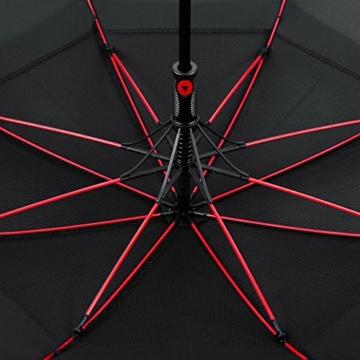 VONDAVO 54 inches Regenschirm Stockschirm Automatik - Übergroß Doppelt Überdachunges sturmsicherer Golfschirm mit 8 Rot Fiberglas Streben und Ledergriff, ideal für 1-3 Personen bei Sturm - 6