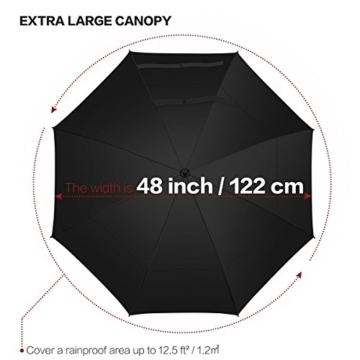 VONDAVO 54 inches Regenschirm Stockschirm Automatik - Übergroß Doppelt Überdachunges sturmsicherer Golfschirm mit 8 Rot Fiberglas Streben und Ledergriff, ideal für 1-3 Personen bei Sturm - 7