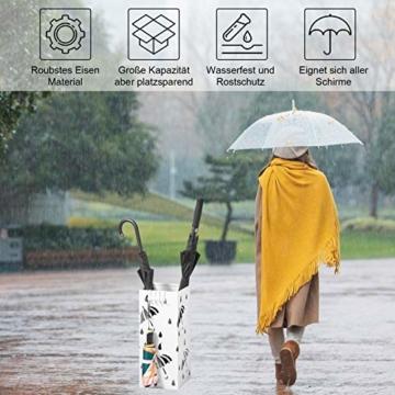 WOLTU Regenschirmständer aus Eisen, Schirmständer mit Wasserauffangschale, 4 Haken für Taschenschirme, L20 x B20 x H49cm, Weiß Rechteck SST02ws - 4