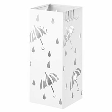 WOLTU Regenschirmständer aus Eisen, Schirmständer mit Wasserauffangschale, 4 Haken für Taschenschirme, L20 x B20 x H49cm, Weiß Rechteck SST02ws - 1