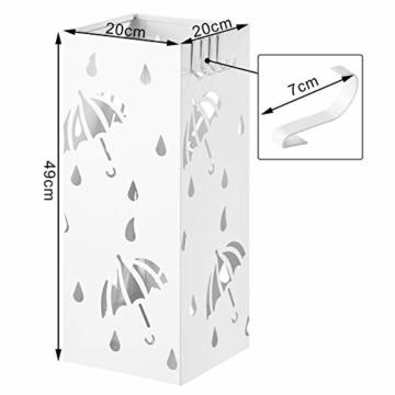 WOLTU Regenschirmständer aus Eisen, Schirmständer mit Wasserauffangschale, 4 Haken für Taschenschirme, L20 x B20 x H49cm, Weiß Rechteck SST02ws - 5