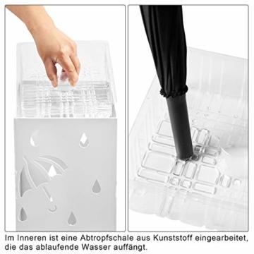 WOLTU Regenschirmständer aus Eisen, Schirmständer mit Wasserauffangschale, 4 Haken für Taschenschirme, L20 x B20 x H49cm, Weiß Rechteck SST02ws - 6