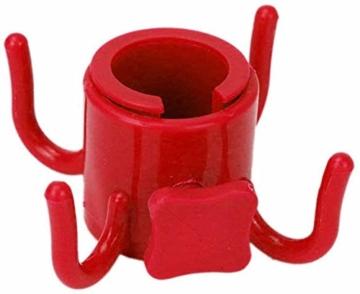 XinYiC Haken für Strandschirme, zum Aufhängen, mit 4 Zinken, für Handtücher, Taschen, Hüte, Rot - 1
