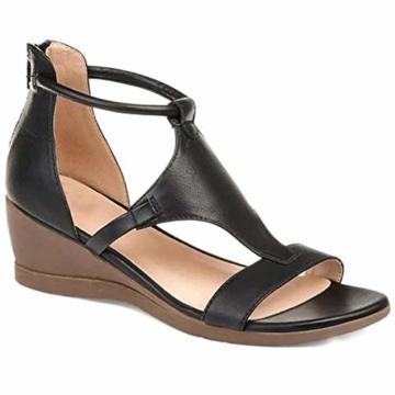 XXZ Frauen Keilabsatz Sandalen Sommer Offene Schuhe Faux Leder Orthopädische Casual Plattform Rom Damen Elegante Flip Flops Freizeit,Schwarz,37 - 2