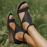 XXZ Frauen Keilabsatz Sandalen Sommer Offene Schuhe Faux Leder Orthopädische Casual Plattform Rom Damen Elegante Flip Flops Freizeit,Schwarz,37 - 1