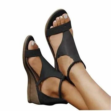 XXZ Frauen Keilabsatz Sandalen Sommer Offene Schuhe Faux Leder Orthopädische Casual Plattform Rom Damen Elegante Flip Flops Freizeit,Schwarz,37 - 3