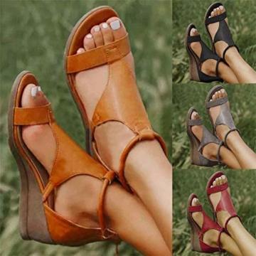XXZ Frauen Keilabsatz Sandalen Sommer Offene Schuhe Faux Leder Orthopädische Casual Plattform Rom Damen Elegante Flip Flops Freizeit,Schwarz,37 - 7