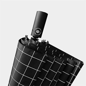Y-S Regenschirm, Automatikschirm, Sommerschirm, Regenschirm für Männer und Frauen, Doppel-Sonnenschirm, Modetrendschirm, Sonnenschutzschirm, Blau, Weiß - 2