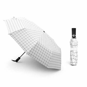 Y-S Regenschirm, Automatikschirm, Sommerschirm, Regenschirm für Männer und Frauen, Doppel-Sonnenschirm, Modetrendschirm, Sonnenschutzschirm, Blau, Weiß - 1