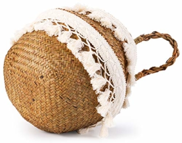 Yesland 3 Stück Boho Woven Seagrass Belly Basket Natürliche Lagerpflanze Korb Spielzeugkorb Lebensmittelkorb Pflanzentopf Wäsche & Picknickkorb für Wohnzimmer - 3 Größen - 2