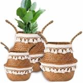 Yesland 3 Stück Boho Woven Seagrass Belly Basket Natürliche Lagerpflanze Korb Spielzeugkorb Lebensmittelkorb Pflanzentopf Wäsche & Picknickkorb für Wohnzimmer - 3 Größen - 1