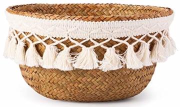 Yesland 3 Stück Boho Woven Seagrass Belly Basket Natürliche Lagerpflanze Korb Spielzeugkorb Lebensmittelkorb Pflanzentopf Wäsche & Picknickkorb für Wohnzimmer - 3 Größen - 3