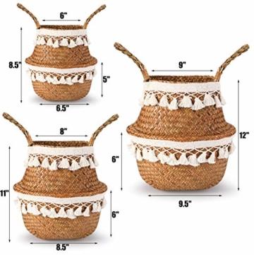 Yesland 3 Stück Boho Woven Seagrass Belly Basket Natürliche Lagerpflanze Korb Spielzeugkorb Lebensmittelkorb Pflanzentopf Wäsche & Picknickkorb für Wohnzimmer - 3 Größen - 4