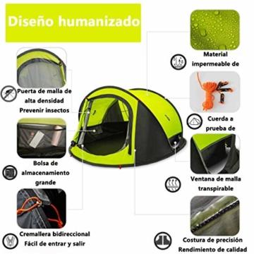 Zenph Pop Up Zelt, Automatisches Outdoor-Zelt für 2-3 Personen Schnellöffnungs Wurfzelt mit Tragetasche, Grüne - 5