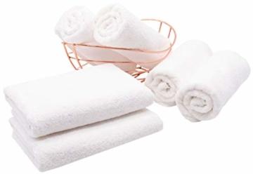 ZOLLNER 6er Set Handtücher, 50x100 cm 100% Baumwolle, 400 g/qm, weiß - 2