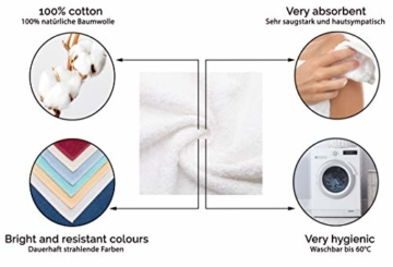 ZOLLNER 6er Set Handtücher, 50x100 cm 100% Baumwolle, 400 g/qm, weiß - 4
