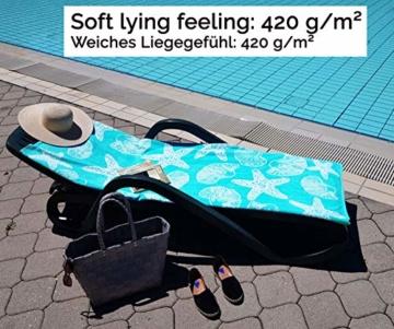 ZOLLNER Strandtuch Meerestiere, 100% Baumwolle, 90x180 cm, türkis - 2