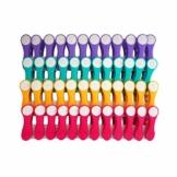 48 Wäscheklammern Soft Grip Softgrip Soft Touch Softtouch (Lila, Türkis, Gelb, Pink, Weiß) - 1