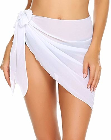 ADOME Damen Strandrock Kurz Sarong Chiffon Pareos Strand Bademode Strandschal Strandkleid Wickeltuch Cover up mit Gürtel Urlaub Sexy Weiß Frau M - 1