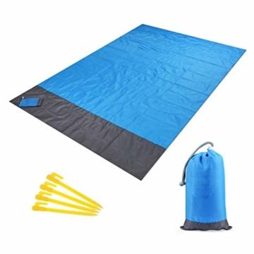 AISHNA Picknickdecke 210 x 200 cm, Stranddecke wasserdichte, Sandabweisende Campingdecke 4 Befestigung Ecken, Ultraleicht kompakt Wasserdicht und sandabweisend für Outdoor Reisen und Camping - 1