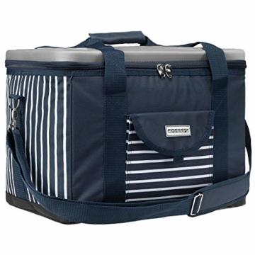 anndora Kühltasche XL blau weiß gestreift 40 L - Kühlbox Isoliertasche Picknicktasche - 1