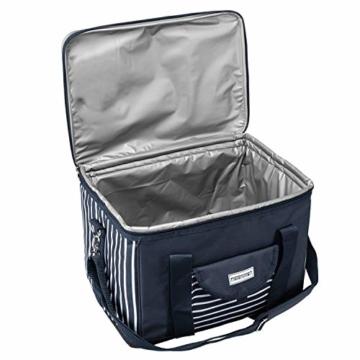 anndora Kühltasche XL blau weiß gestreift 40 L - Kühlbox Isoliertasche Picknicktasche - 6