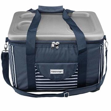 anndora Kühltasche XL blau weiß gestreift 40 L - Kühlbox Isoliertasche Picknicktasche - 7