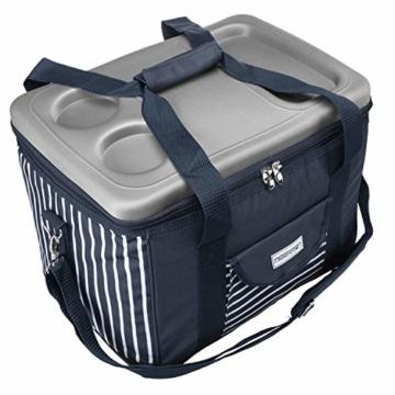 anndora Kühltasche XL blau weiß gestreift 40 L - Kühlbox Isoliertasche Picknicktasche - 8